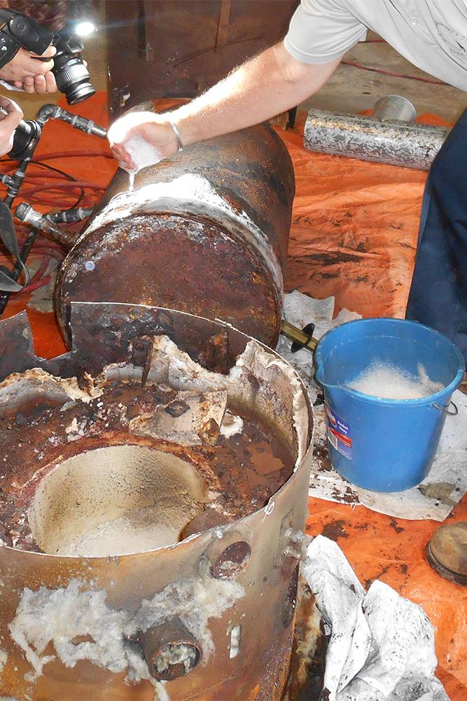 destructive test hot water tank